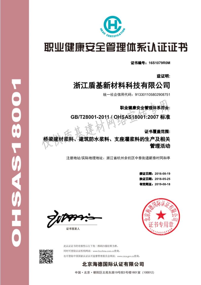 盾基新材料ISO职业健康管理体系认证证书